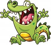stock photo of crocodiles  - Happy cartoon crocodile - JPG