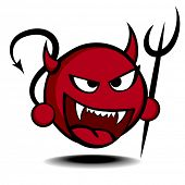 picture of trident  - detailed illustration of a stylized red devil with trident - JPG