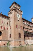 stock photo of ferrara  - Clock on Estense Castle - JPG