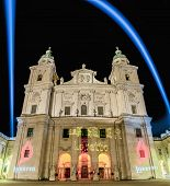 stock photo of dom  - The Salzburg Cathedral (Salzburger Dom) is a 17th century baroque cathedral dedicated to Saint Rupert at Salzburg Austria ** Note: Visible grain at 100%, best at smaller sizes - JPG