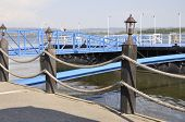 stock photo of pontoon boat  - Pontoon at the danube in Drobeta Turnu Severin in Romania - JPG