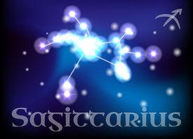 stock photo of sagittarius  - Sagittarius horoscope or zodiac or constellation illustration - JPG