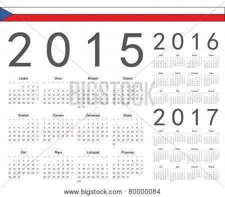 Set Of Czech 2015, 2016, 2017 Year Vector Calendars