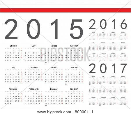 Set Of Polish 2015, 2016, 2017 Year Vector Calendars