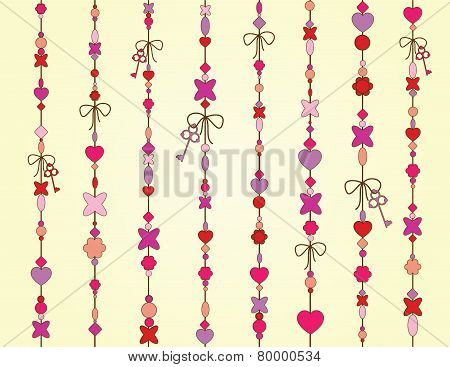 vector valentine background with pink hearts and keys