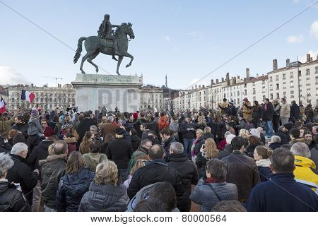 Lyon, France - January 11, 2015: Anti Terrorism Protest. 9