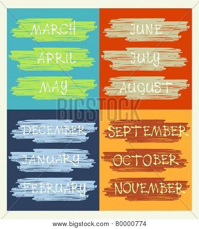 Calendar, Months Of The Year, Handwritten Text