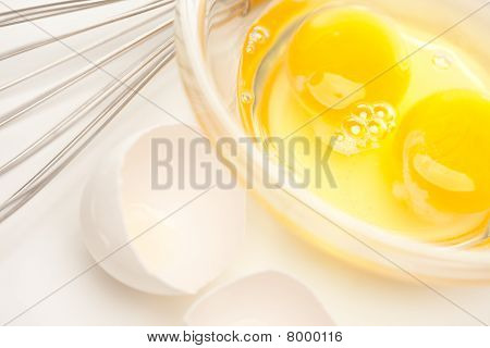 Hand Mixer With Eggs In Glass Bowl