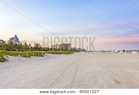 Sunset At South Beach With Colorful Clouds In Miami, Florida