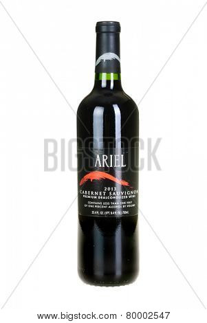 Hayward, CA - January 11, 2015: 750mL bottle of Ariel 2013 Cabernet Sauvignon dealcoholized wine
