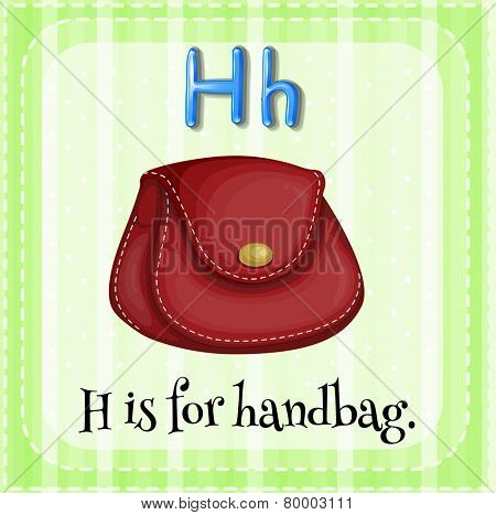Illustration of an alphabet H is for handbag