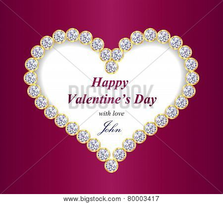 Valentine Greeting Card With Heart Composed From Diamonds