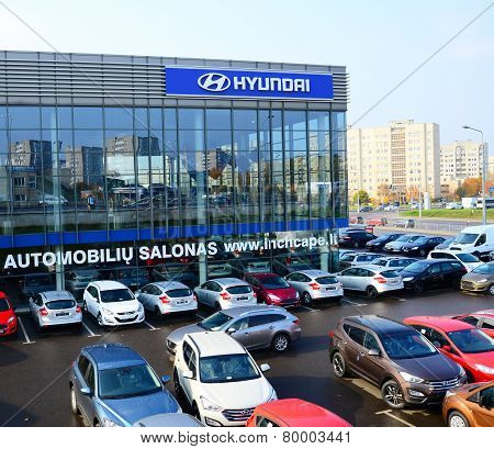 Cars On The Holding Yard Hyundai In Vilnius City