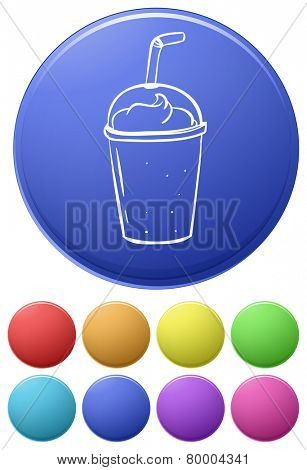 Small buttons and a big button with a disposable glass on a white background