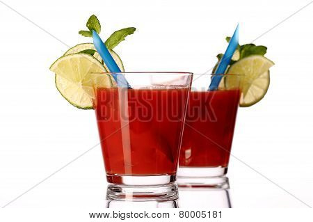 Bloody Mary Fresh Coctail Isolated On White