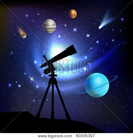 Space Background With Telescope