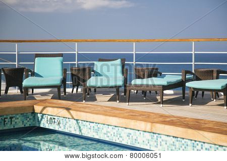 Cruise Ship, Ocean, Lounge Chairs And Swimming Pool Abstract.