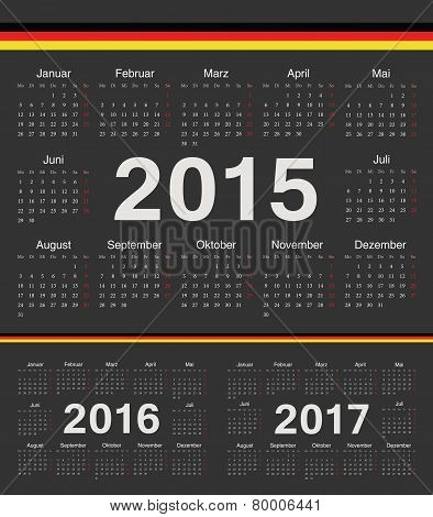 Vector Black German Circle Calendars 2015, 2016, 2017