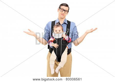 Helpless father carrying his baby daughter and gesturing with his hands isolated on white background