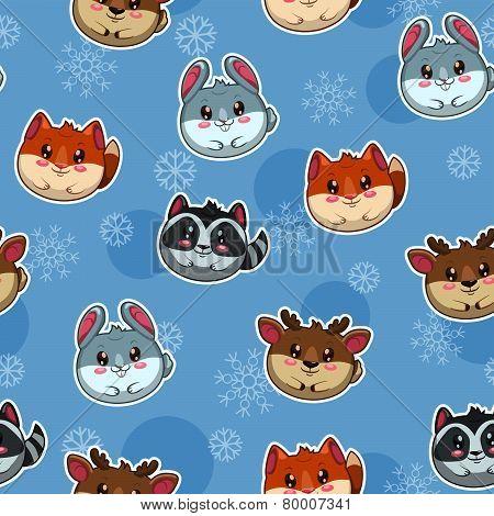 pattern with cute round animals