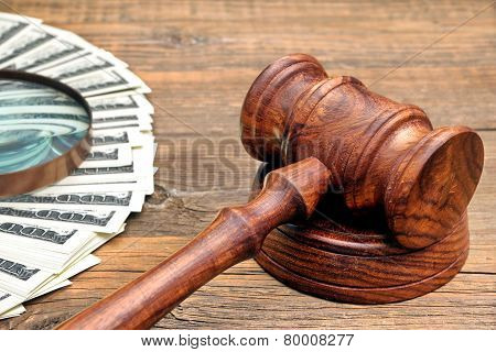 Judges Gavel, Money And Magnifying Glass