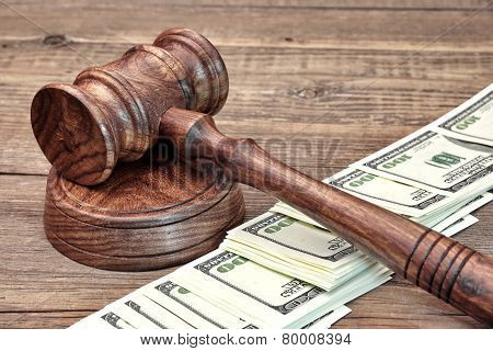 Usa Dollar Banknote And Wooden Judges Gavel