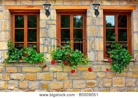 Three Windows In Old House