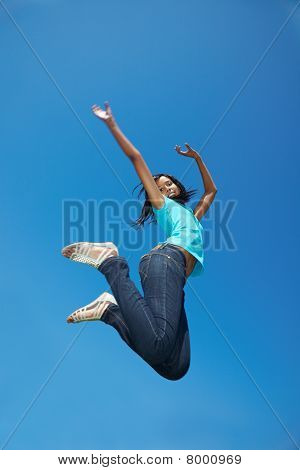African Woman Jumping High