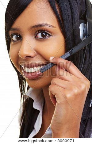 Happy African Woman With Headset