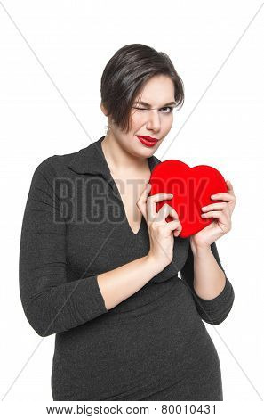 Beautiful Plus Size Woman With Red Heart Winking Isolated