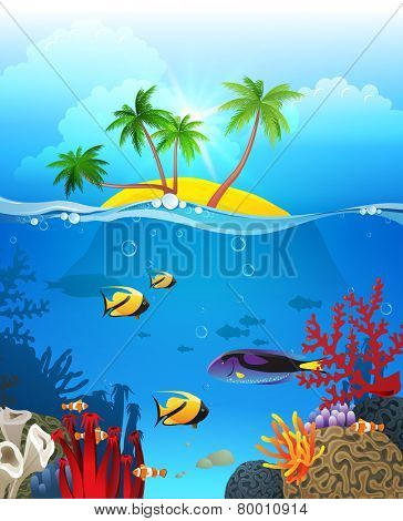 Tropical landscape with island and underwater life