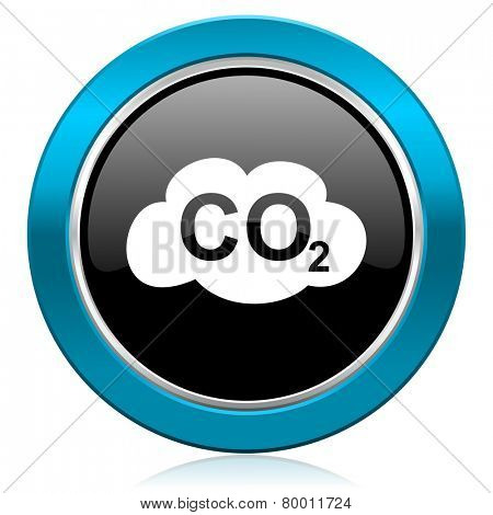 carbon dioxide glossy icon co2 sign