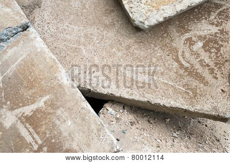 Heap Of The Damaged Concrete Blocks
