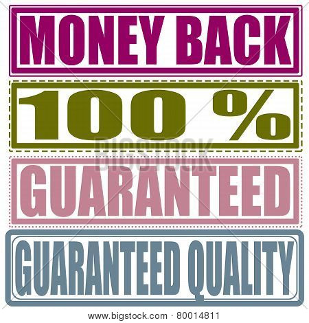 Set Stamp Money Back, Percent, Guaranteed, Guaranteed Quality