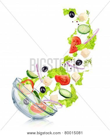 Falling Greek Salad In A Glass Salad Bowl With Reflection. Concept Slim Figure