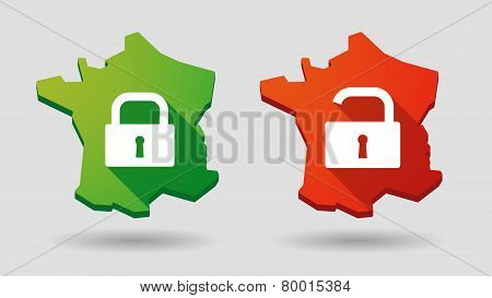 Long Shadow France Map        Lock Pad Icon Set