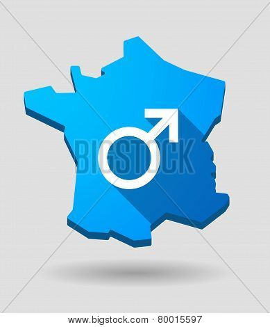 Long Shadow France Map Icon With A Male Sign