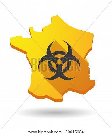 Long Shadow France Map Icon With A Biohazard Sign