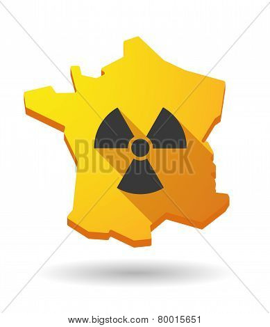 Long Shadow France Map Icon With A Radioactivity Sign