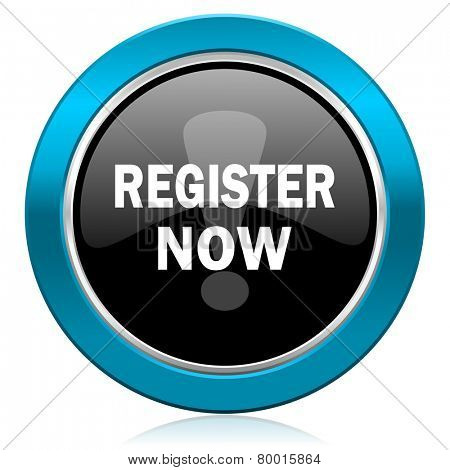 register now glossy icon