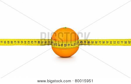 Orange Tightened Measuring Tape On A White Background. Concept Of Diet