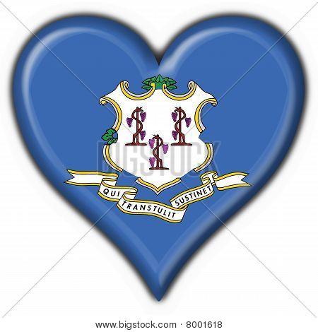 Connecticut (estado de Estados Unidos) botón bandera en forma de corazón