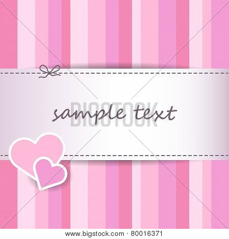 Sweet Striped Pink Valentine Day Greeting Card Background
