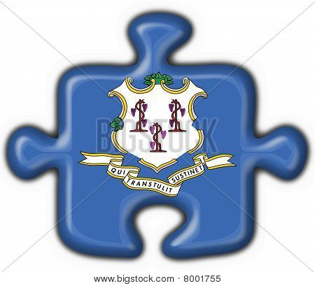Connecticut (usa State) Button Flag Puzzle Shape