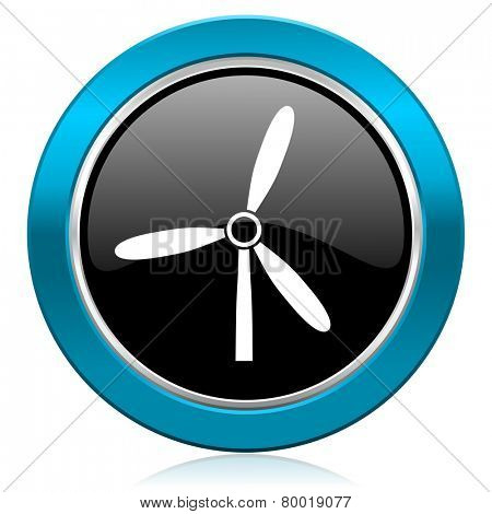 windmill glossy icon renewable energy sign