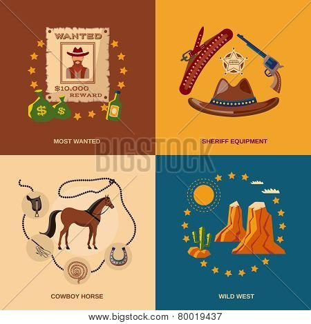 Cowboy icons flat