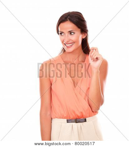 Pretty Brunette Lady In Elegant Blouse Smiling