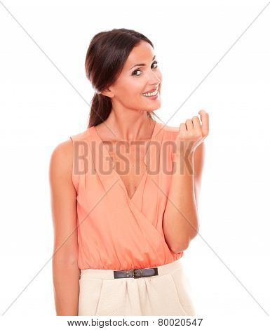 Friendly Young Lady In Elegant Blouse Smiling