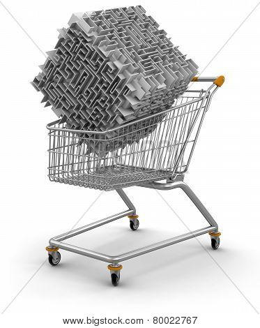 Shopping Cart with  maze (clipping path included)