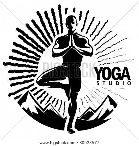 Yoga. Vector illustration in the engraving style